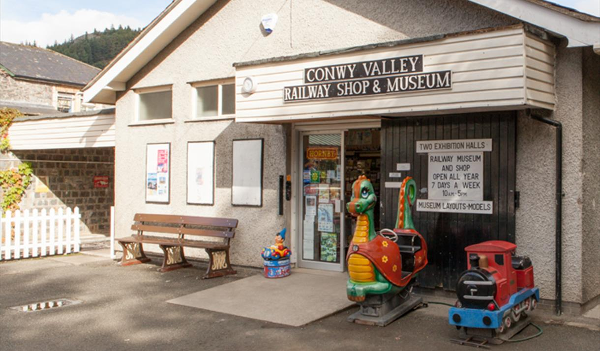 Outside of Conwy Valley Railway Shop and Museum, Betws-y-Coed