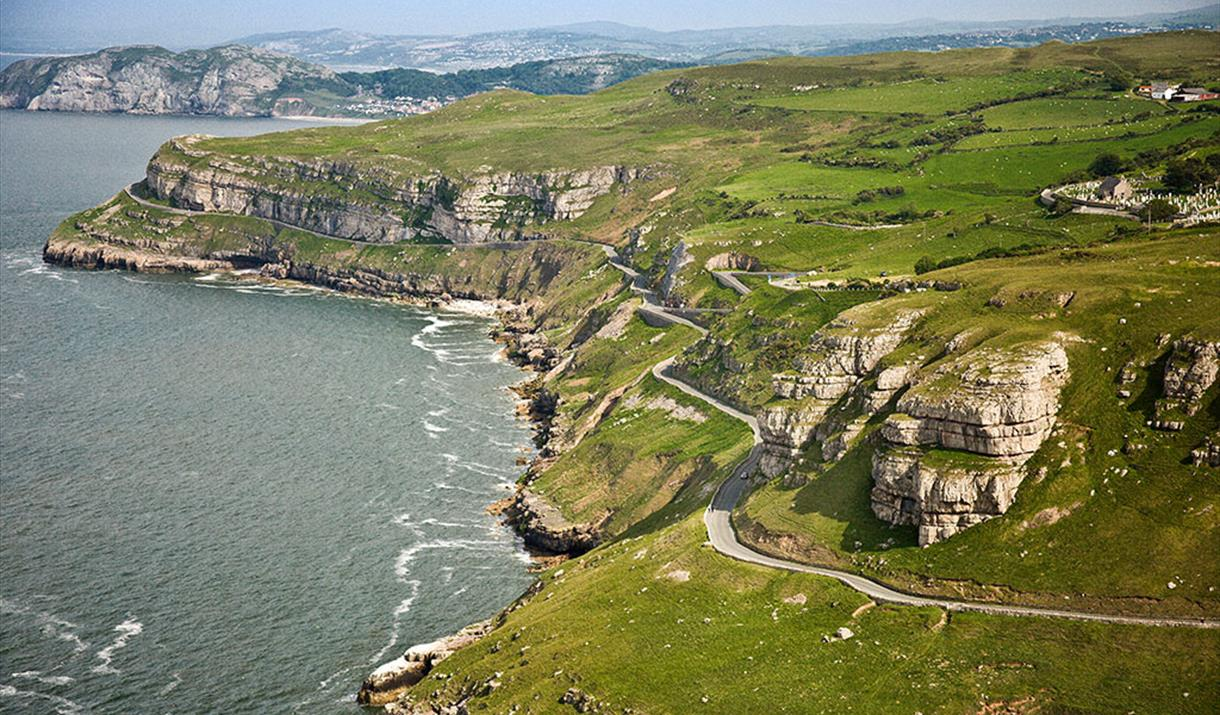 Aerial photo of Marine Drive and the Great Orme