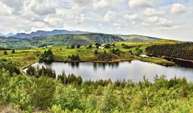 Llyn Glangors with a view of Gwydir Forest Park.