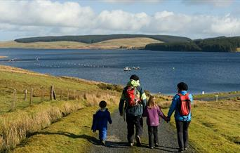 Family walk at Llyn Brenig